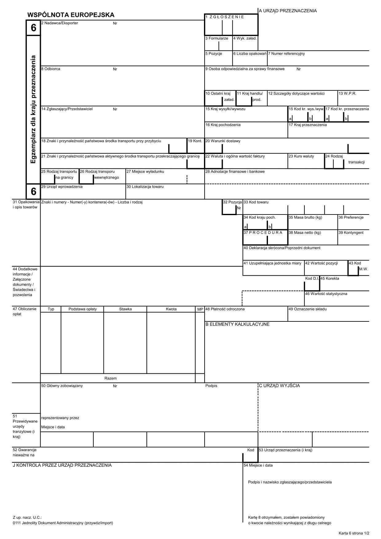 SAD-IMP SAD 4 - IMPORT (karta: 6, 7, 8)