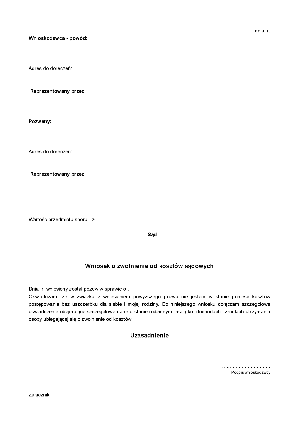 Wzks Wniosek O Zwolnienie Od Druk Formularz Online