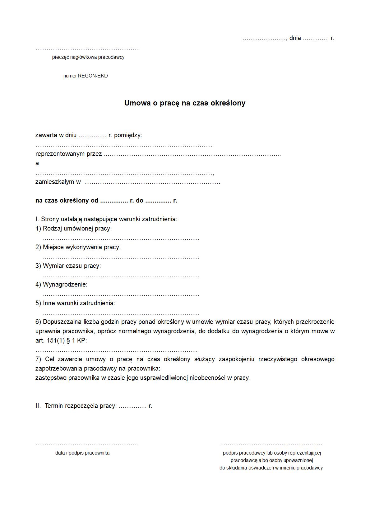 UoPCO Umowa o pracę na czas określony