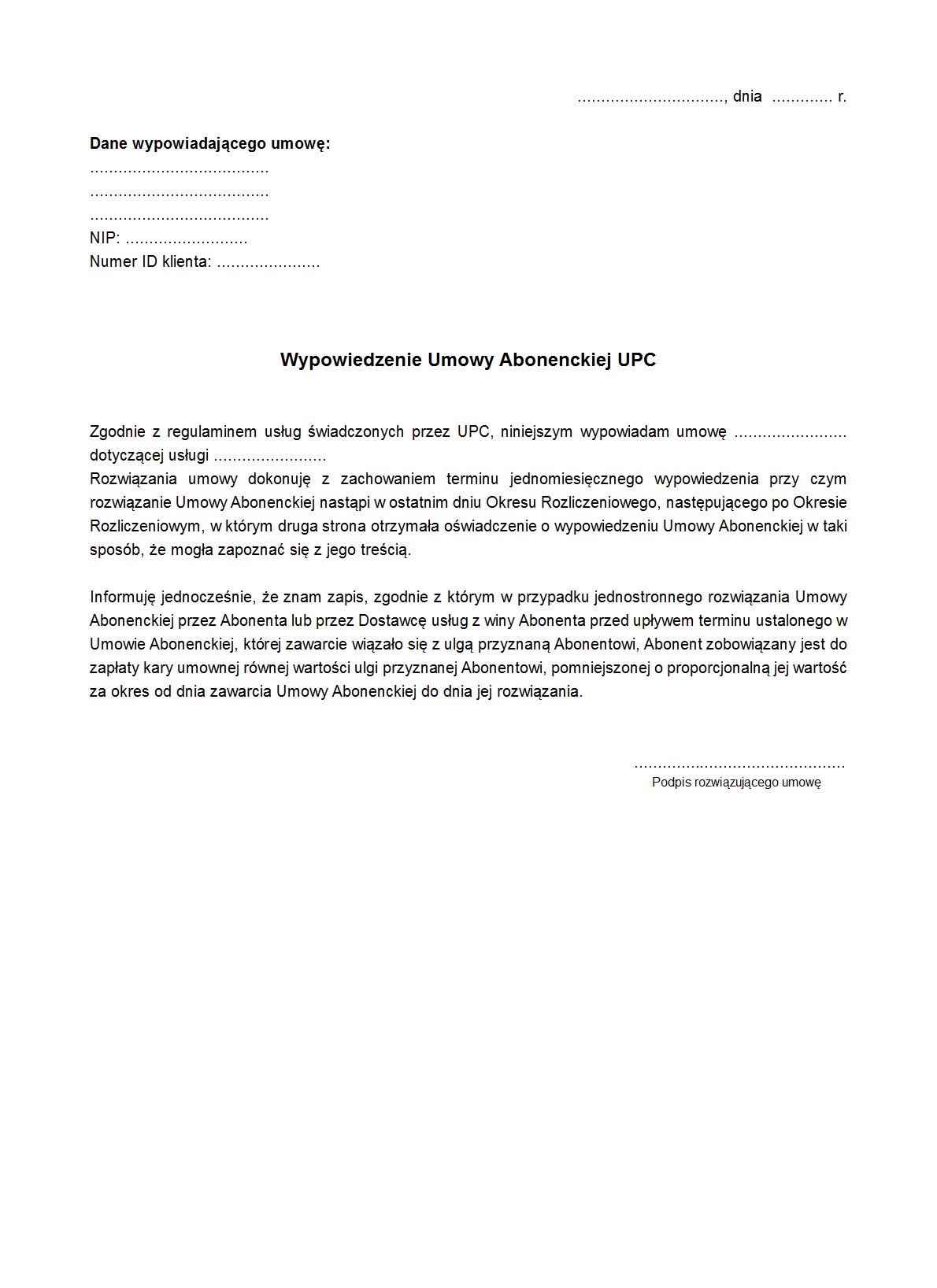 Wuaupc Wypowiedzenie Umowy Druk Formularz Online