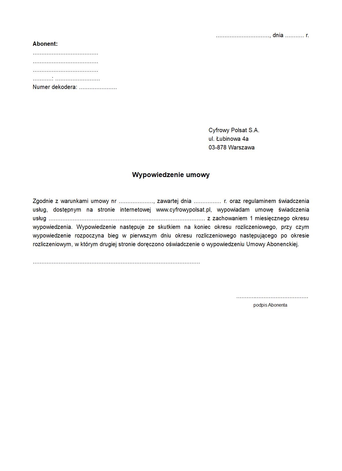 Wucp Wypowiedzenie Umowy Cyfrowy Druk Formularz Online