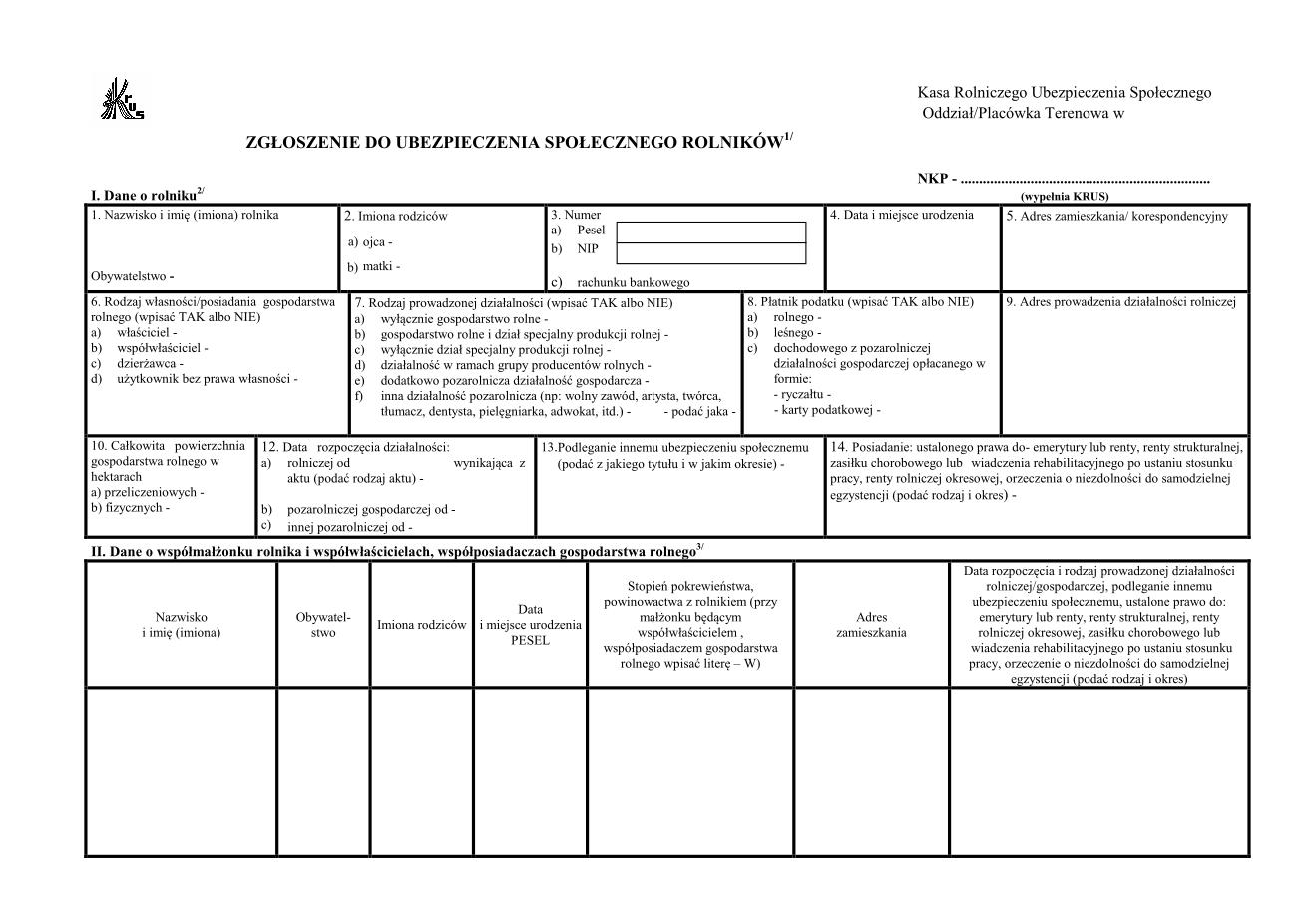 KRUS UD-2 Zgłoszenie do ubezpieczenia społecznego rolników