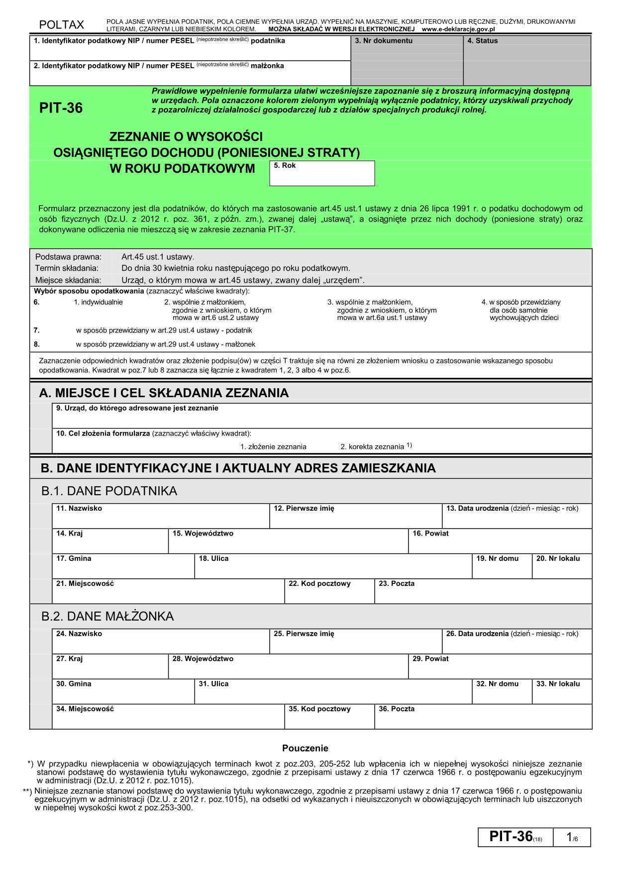 PIT-36 (18) (2012) (archiwalny) Zeznanie o wysokości osiągniętego dochodu (poniesionej straty)