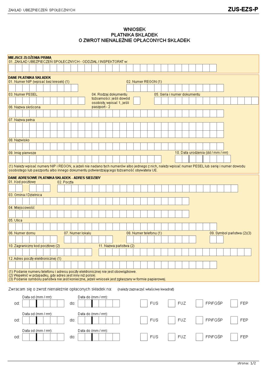 ZUS-EZS-P Wniosek płatnika składek o zwrot nienależnie opłaconych składek