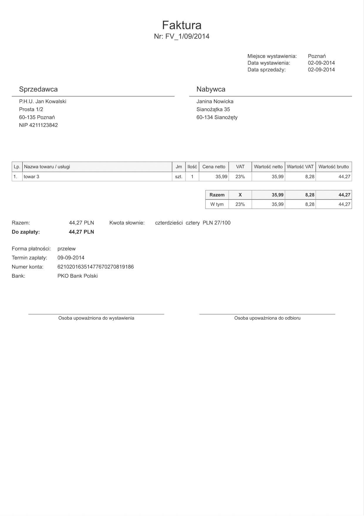Fvatn 1poz Faktura Vat Netto 1 Druk Formularz Online