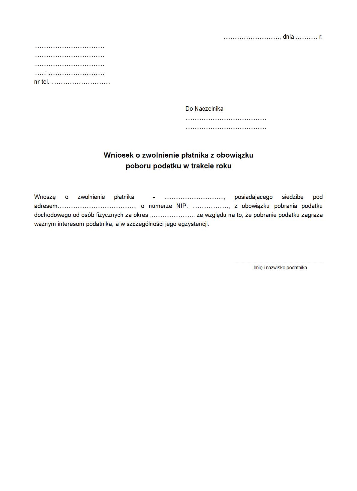 Wozpopz Wniosek O Zwolnienie Druk Formularz Online