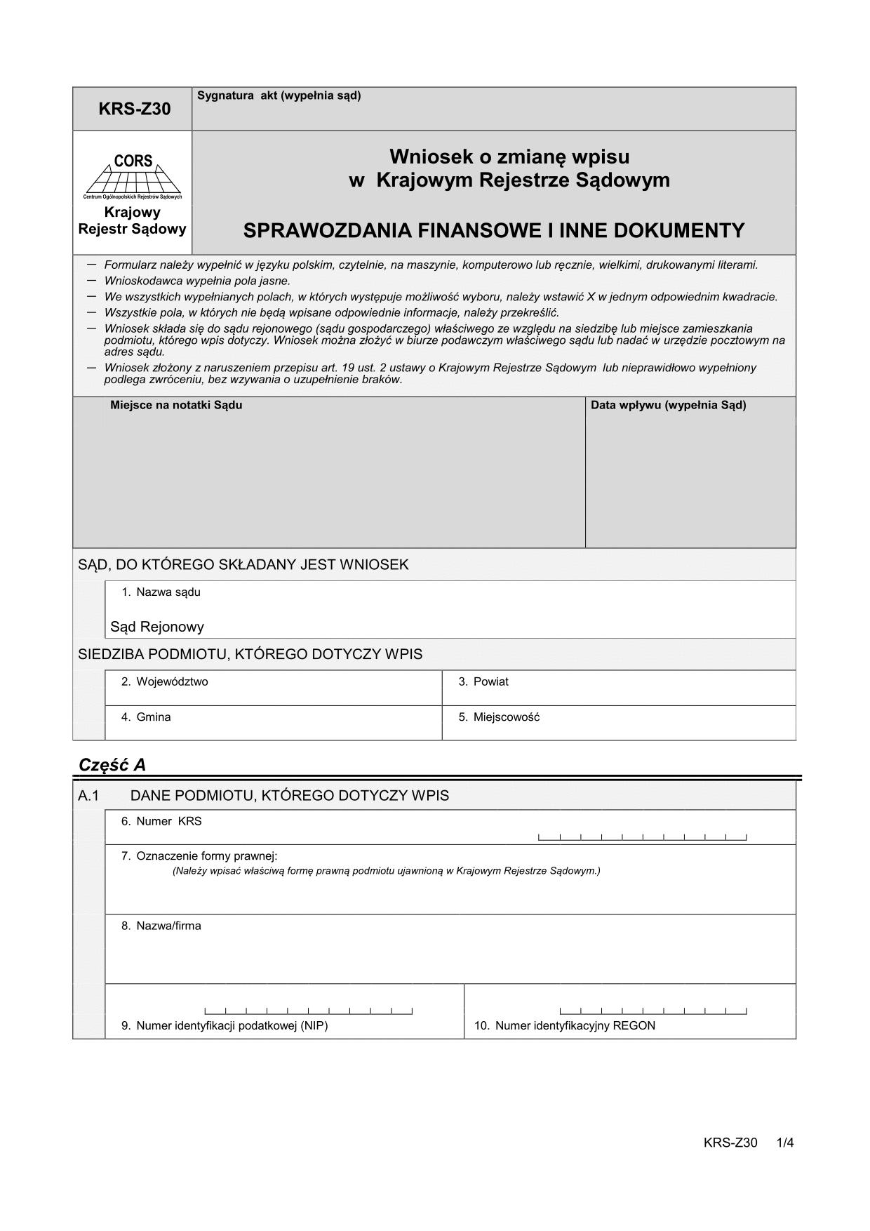 KRS-Z30 Wniosek o zmianę wpisu w Krajowym Rejestrze Sądowym - Sprawozdania finansowe i inne dokumenty
