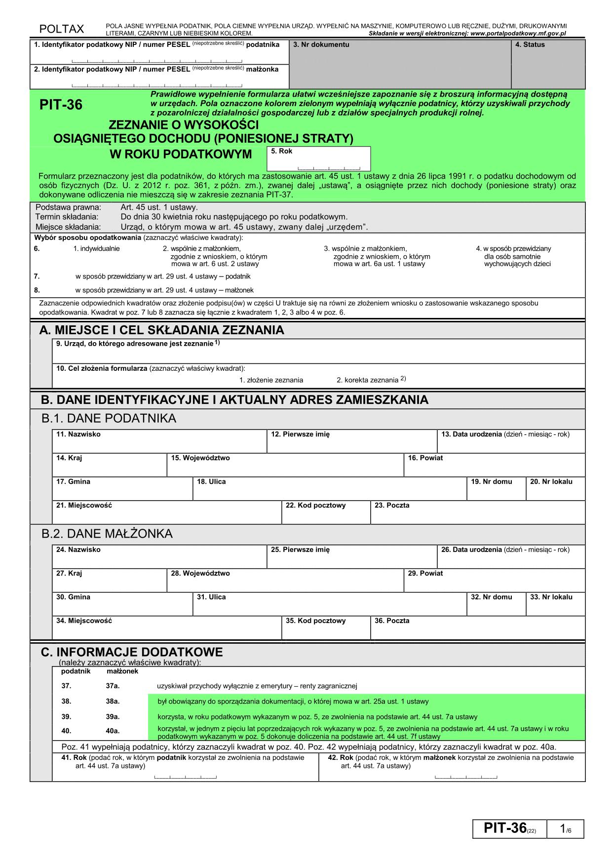 PIT-36 (22) (archiwalny) (2015) Zeznanie o wysokości osiągniętego dochodu (poniesionej straty)
