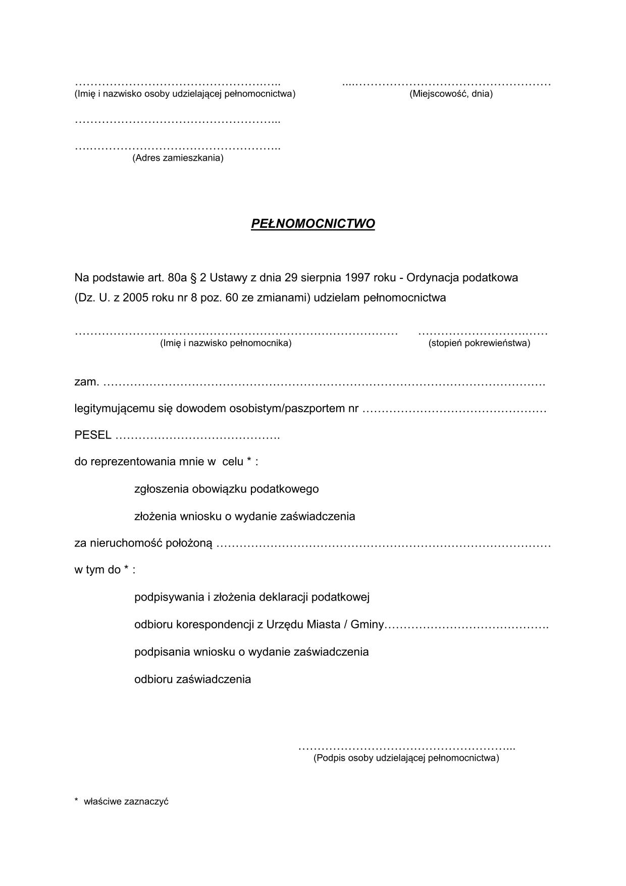 Ppod Pełnomocnictwo do załatwienia spraw podatkowych w Urzędzie Skarbowym lub Urzędzie Miasta (Gminy)