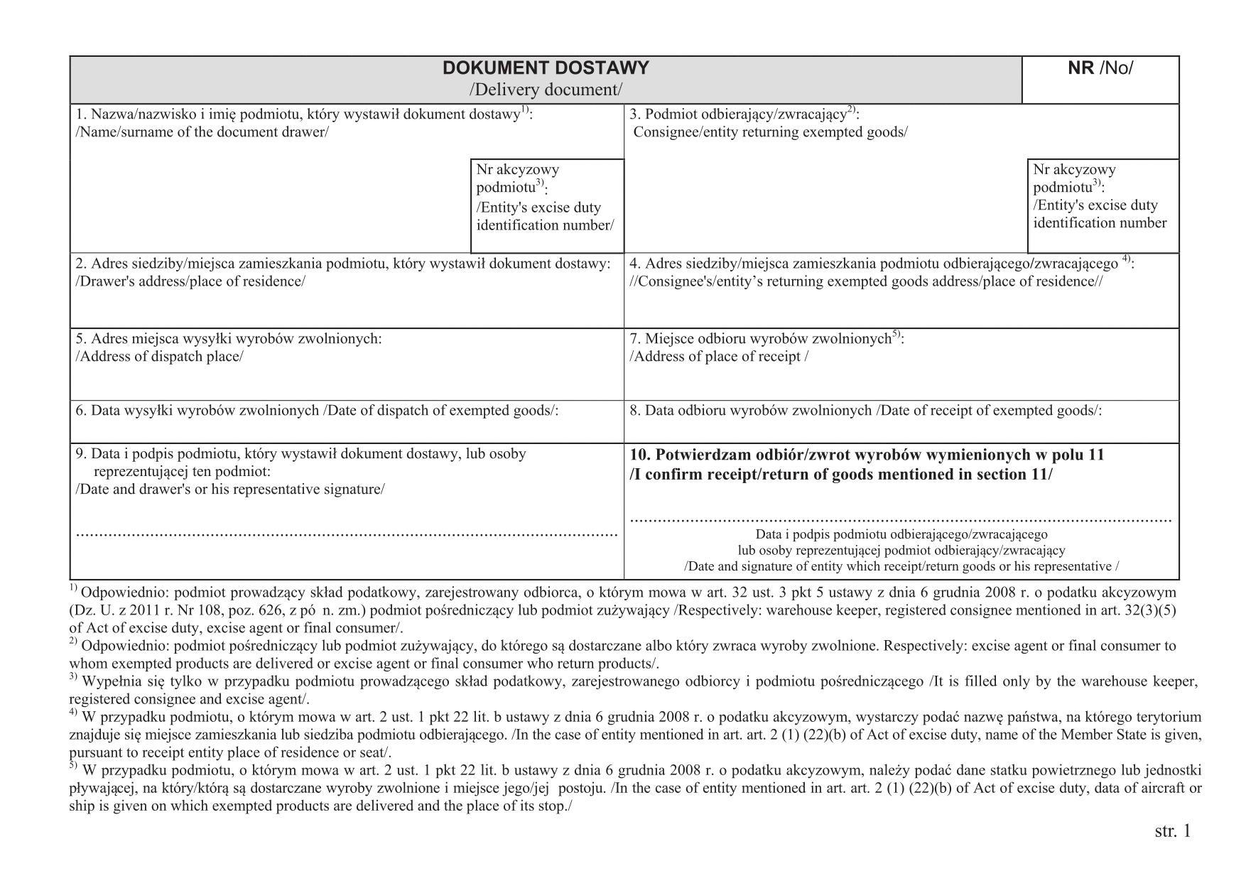 DD Dokument dostawy