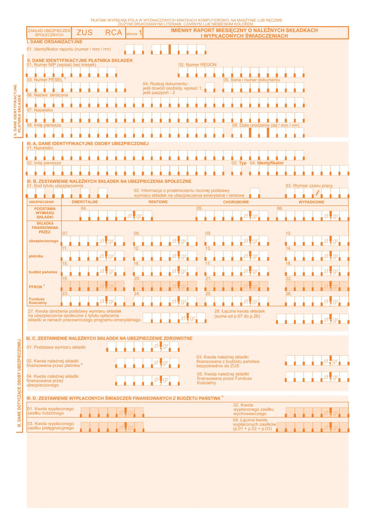 ZUS RCA Imienny raport miesięczny o należnych składkach i wypłaconych świadczeniach
