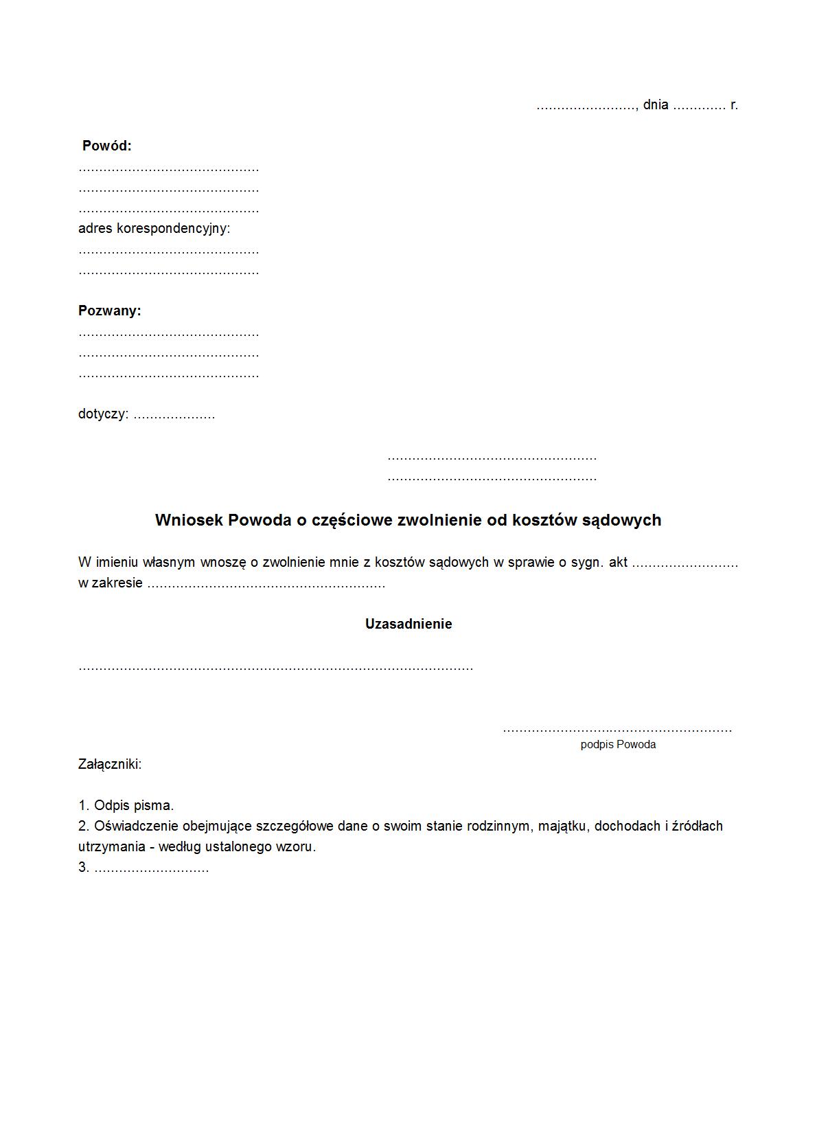 Wpozzk Wniosek Powoda O Częściowe Druk Formularz Online