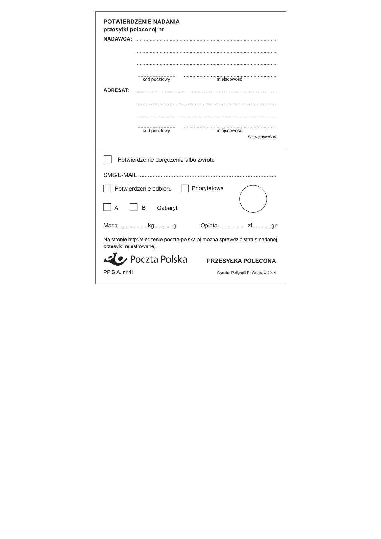 PP 11 (od 2014) Potwierdzenie nadania przesyłki poleconej
