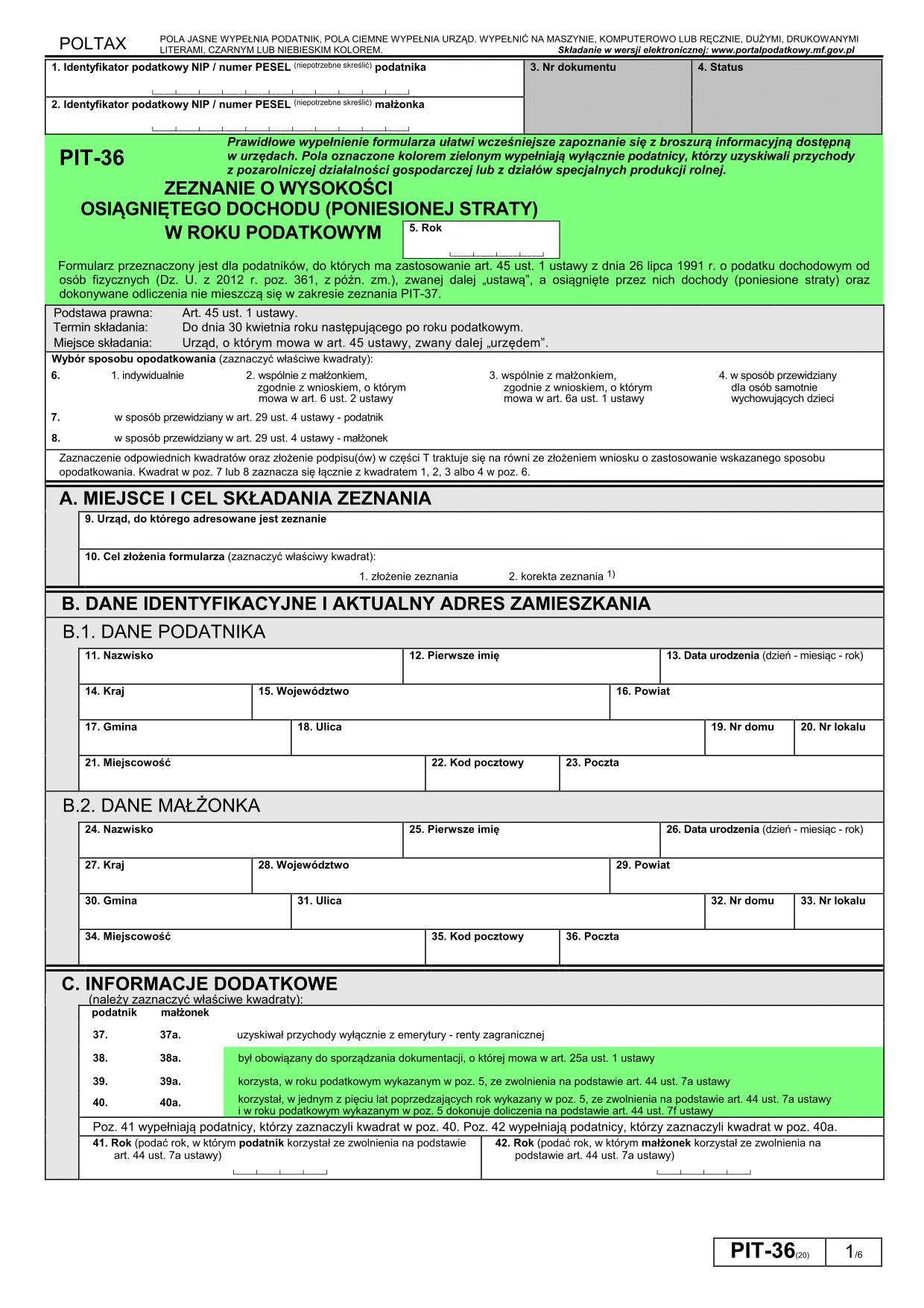 PIT-36 (20) (2014) (archiwalny) Zeznanie o wysokości osiągniętego dochodu (poniesionej straty)