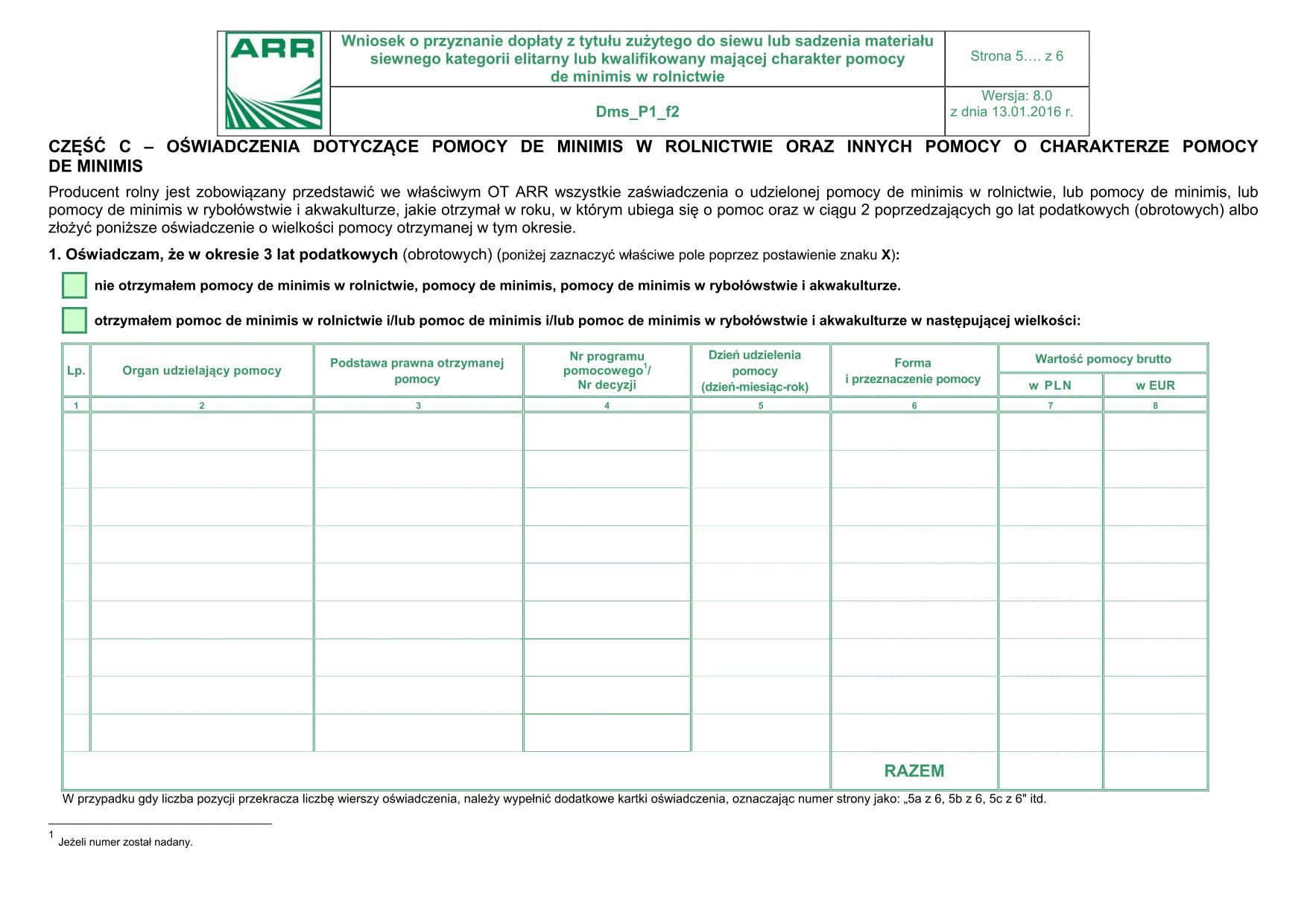 Dms_P1_f2 - str 5 (archiwalny) Oświadczenie dotyczące pomocy de minimis w rolnictwie oraz innych pomocy o charakterze pomocy de minimis