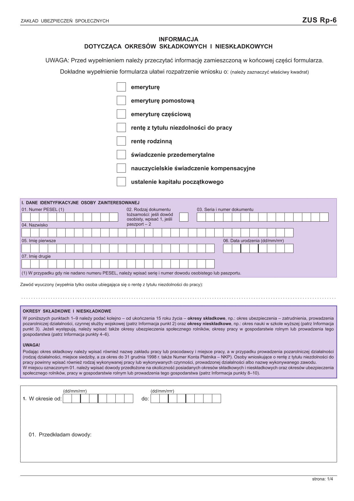ZUS RP-6  Informacja dotycząca okresów składkowych i nieskładkowych