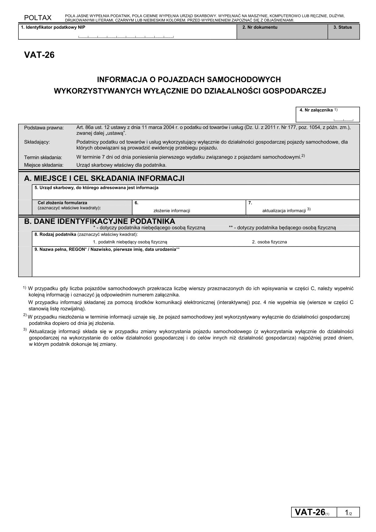 VAT-26 (1) Informacja o pojazdach samochodowych wykorzystywanych wyłącznie do działalności gospodarczej