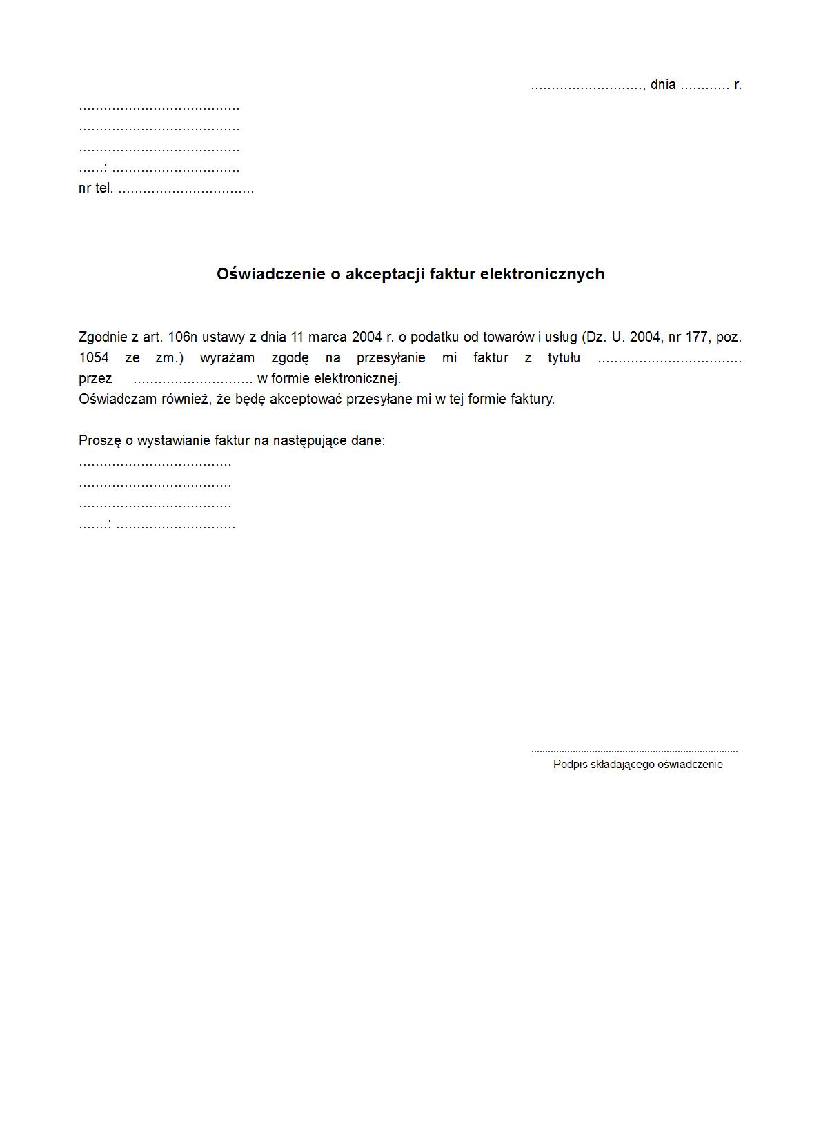 Oś Efv Oświadczenie O Akceptacji Druk Formularz Online