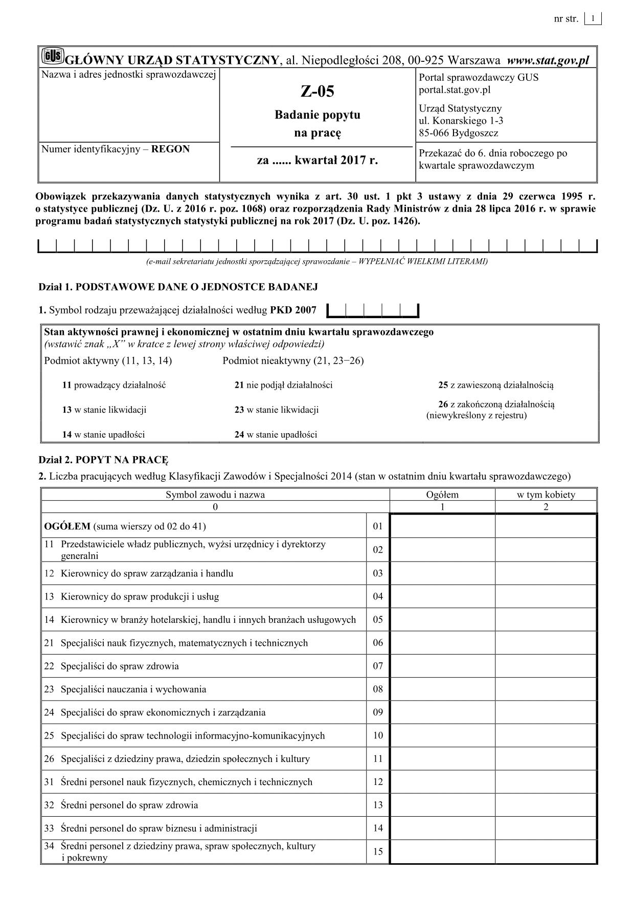 GUS Z-05 (2017) Badanie popytu na pracę