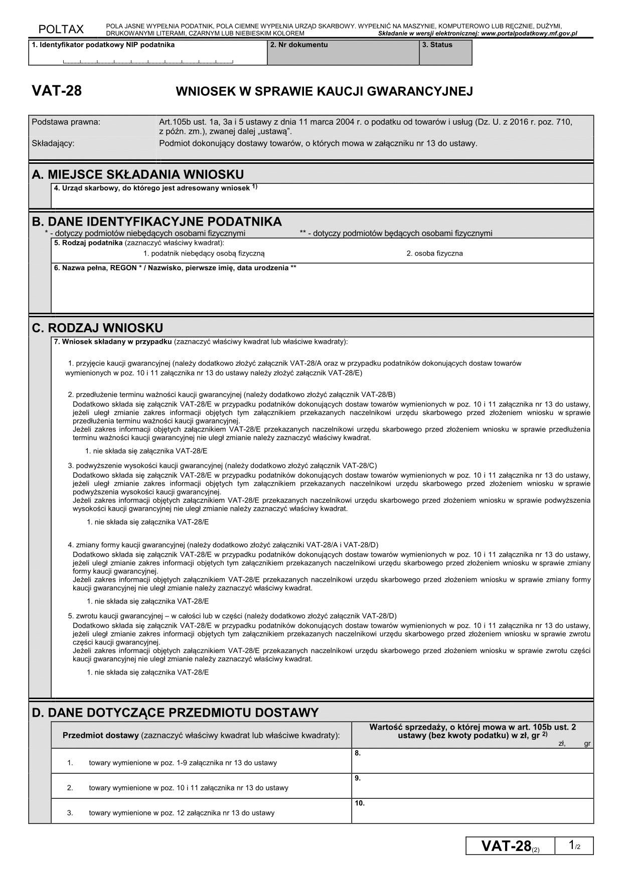 VAT-28 (2) Wniosek w sprawie kaucji gwarancyjnej