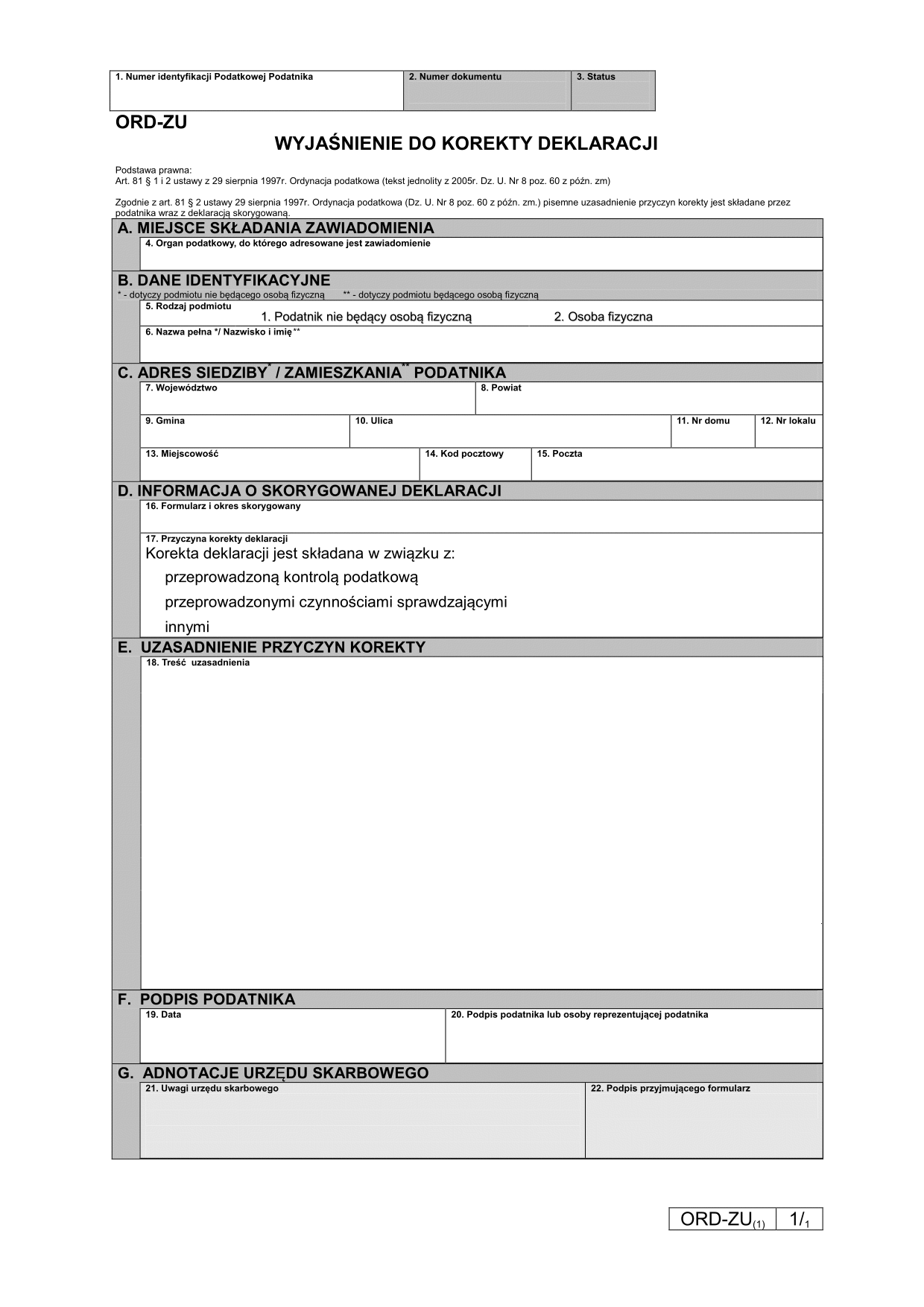 ORD-ZU (1) (archiwalny) Wyjaśnienie do korekty deklaracji
