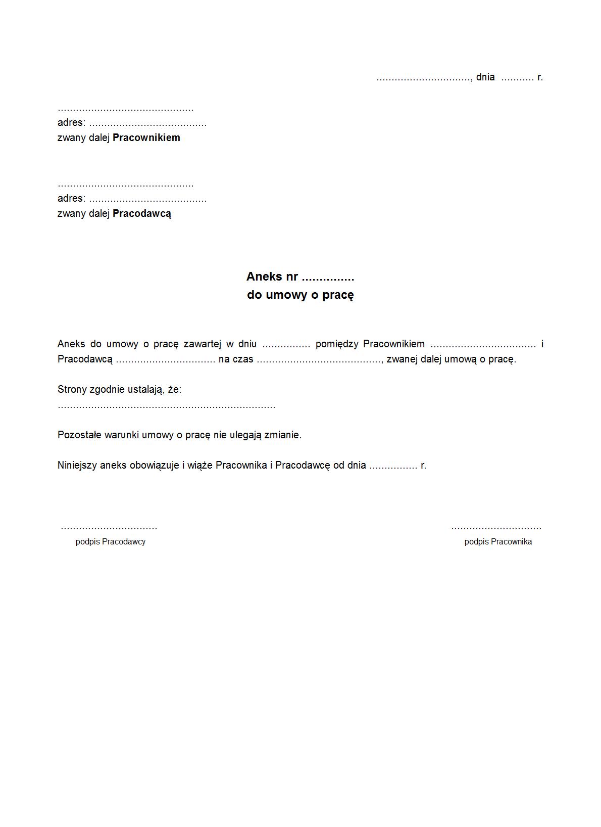 UoP-A Aneks do umowy o pracę