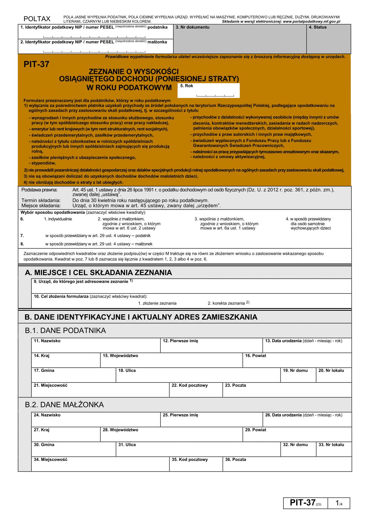 PIT-37 (23) (2016) Zeznanie o wysokości osiągniętego dochodu (poniesionej straty)