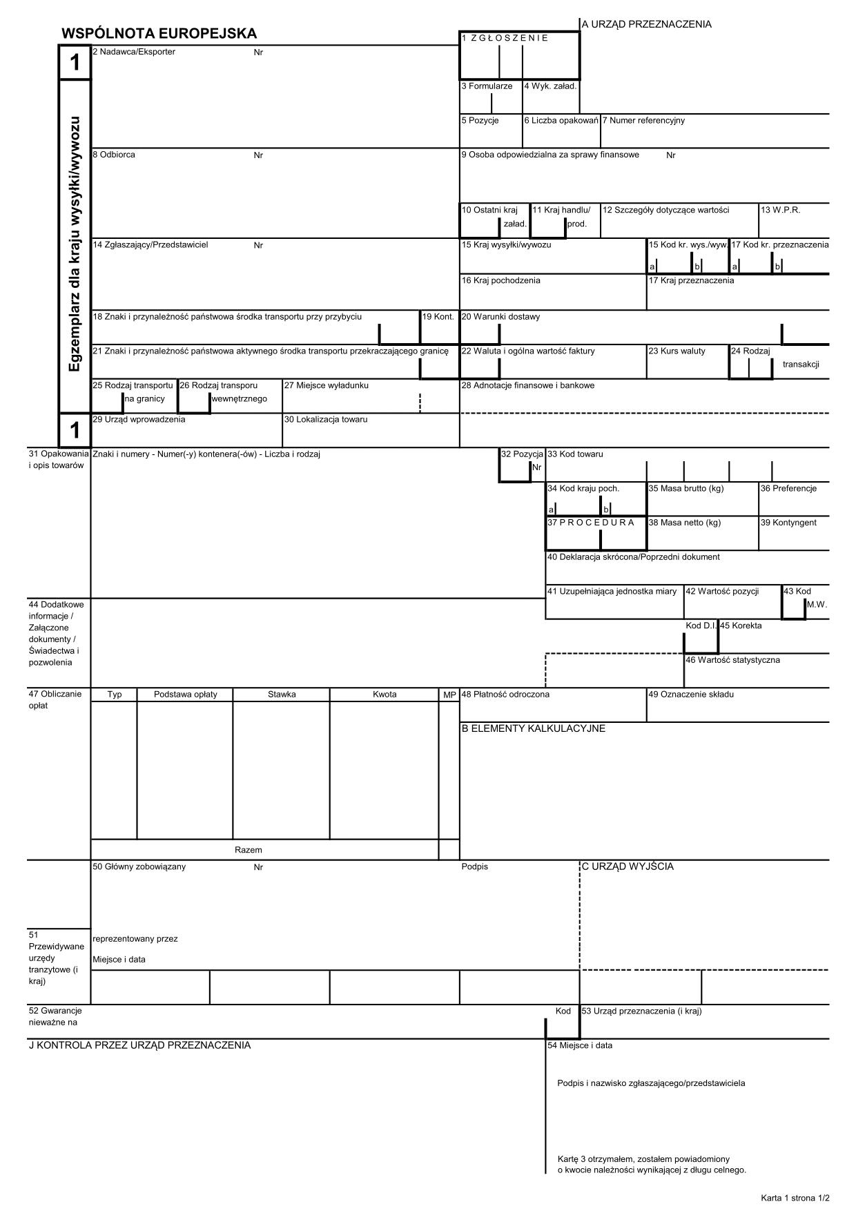 SAD-EKS SAD 1 - EKSPORT (karta: 1, 2, 3)