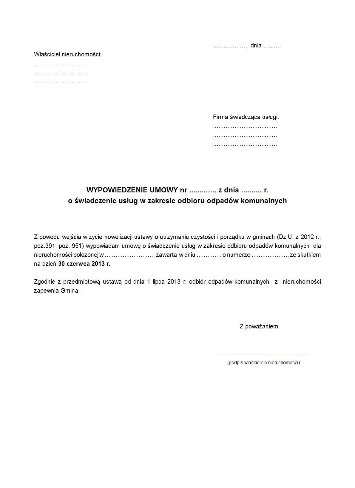 Wuook Wypowiedzenie Umowy O Druk Formularz Online