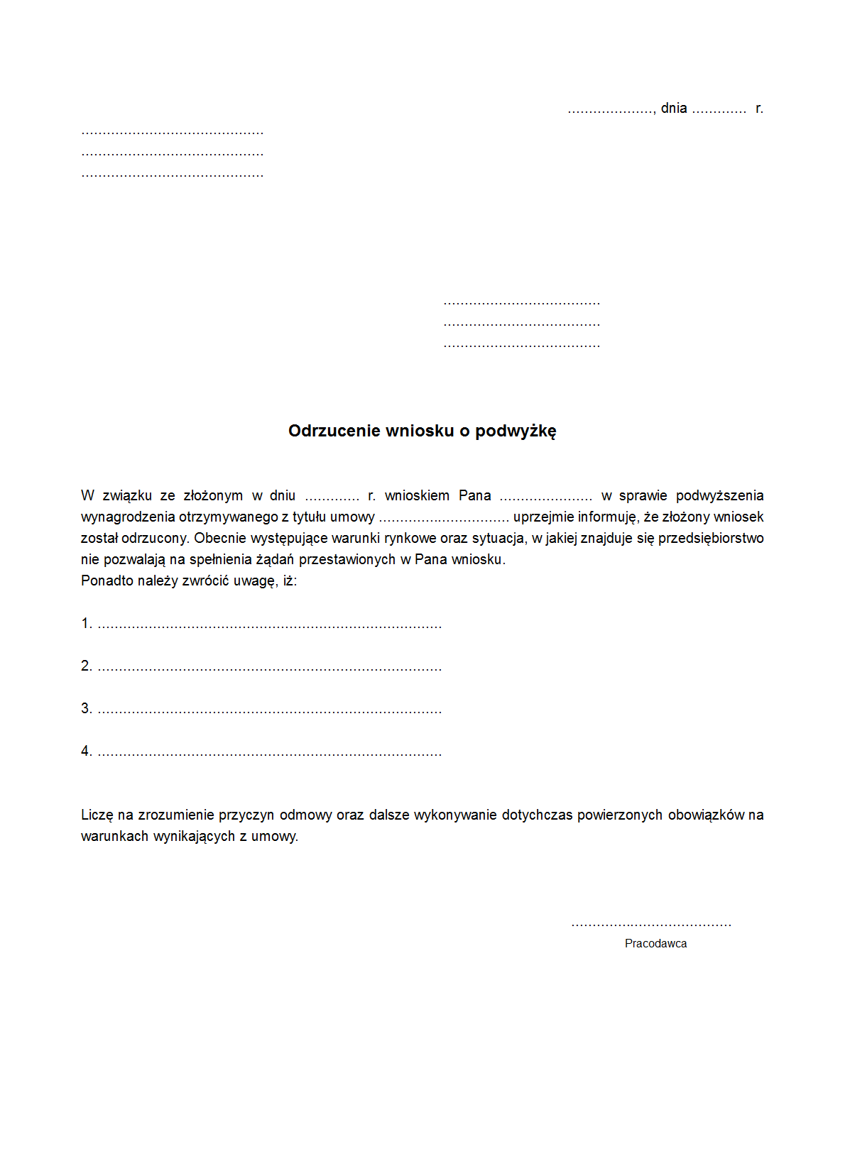 Owop Odrzucenie Wniosku O Podwyżkę Druk Formularz Online