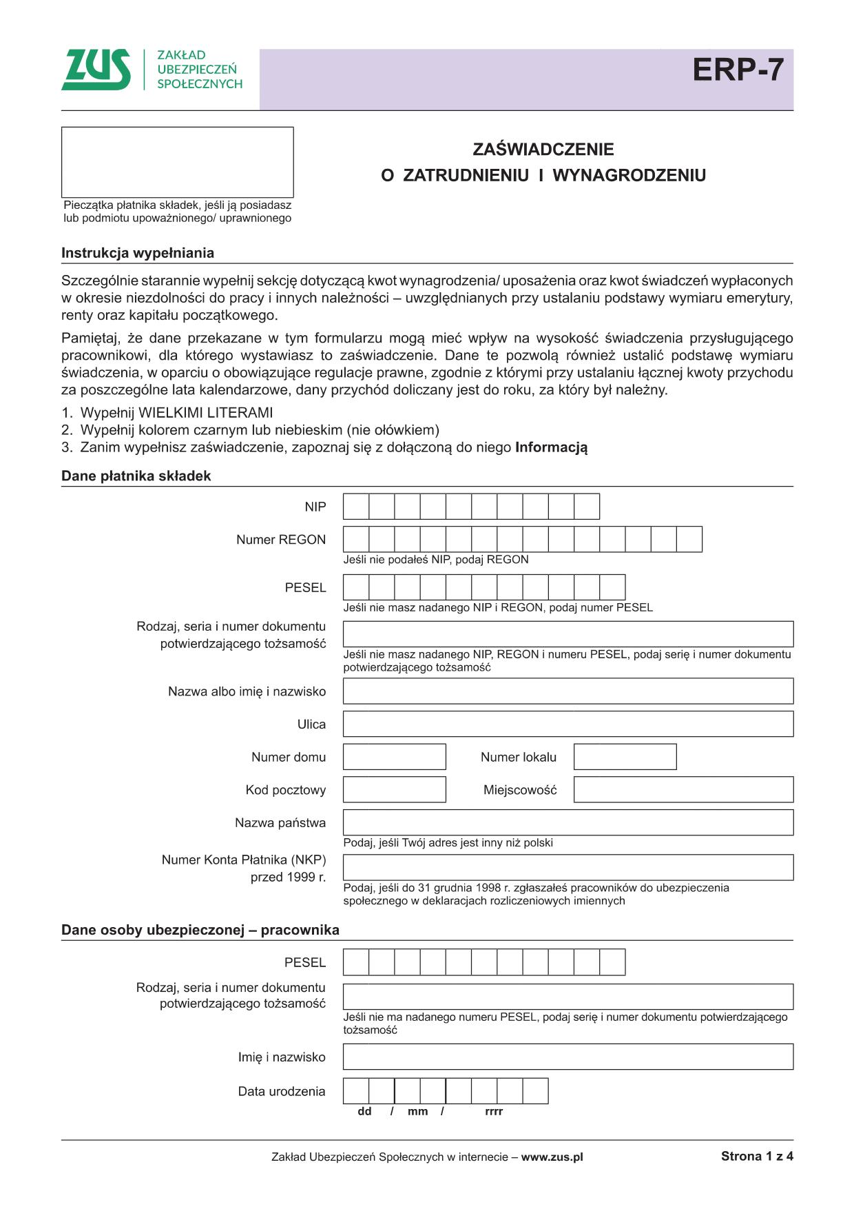 7585017bf73a8e ZUS ERP-7 Zaświadczenie o zatrudnieniu i wynagrodzeniu
