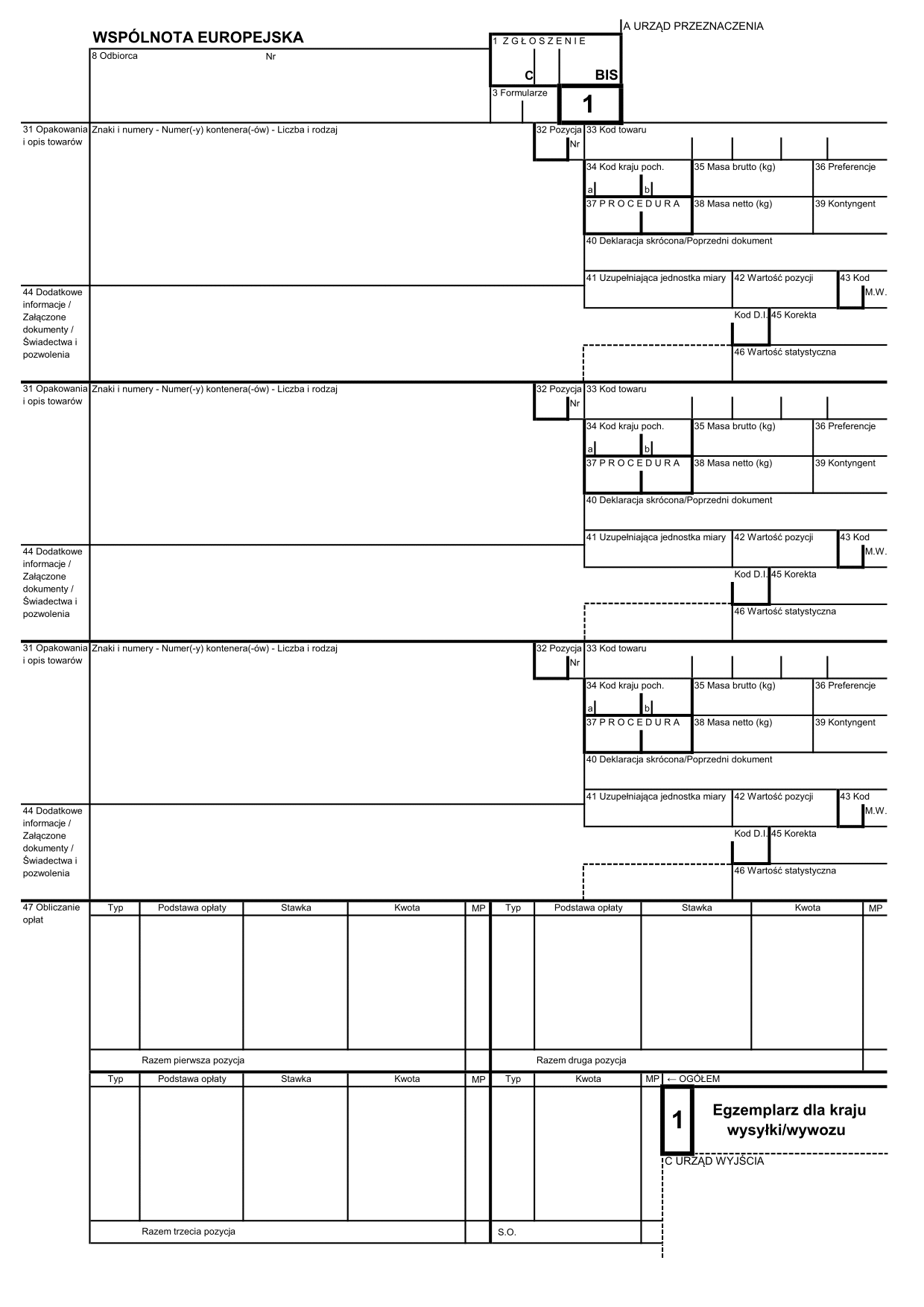 SAD-BIS-WYW-TR SAD-BIS 2 - WYWÓZ + TRANZYT (karta: 1, 2, 3, 4, 5)
