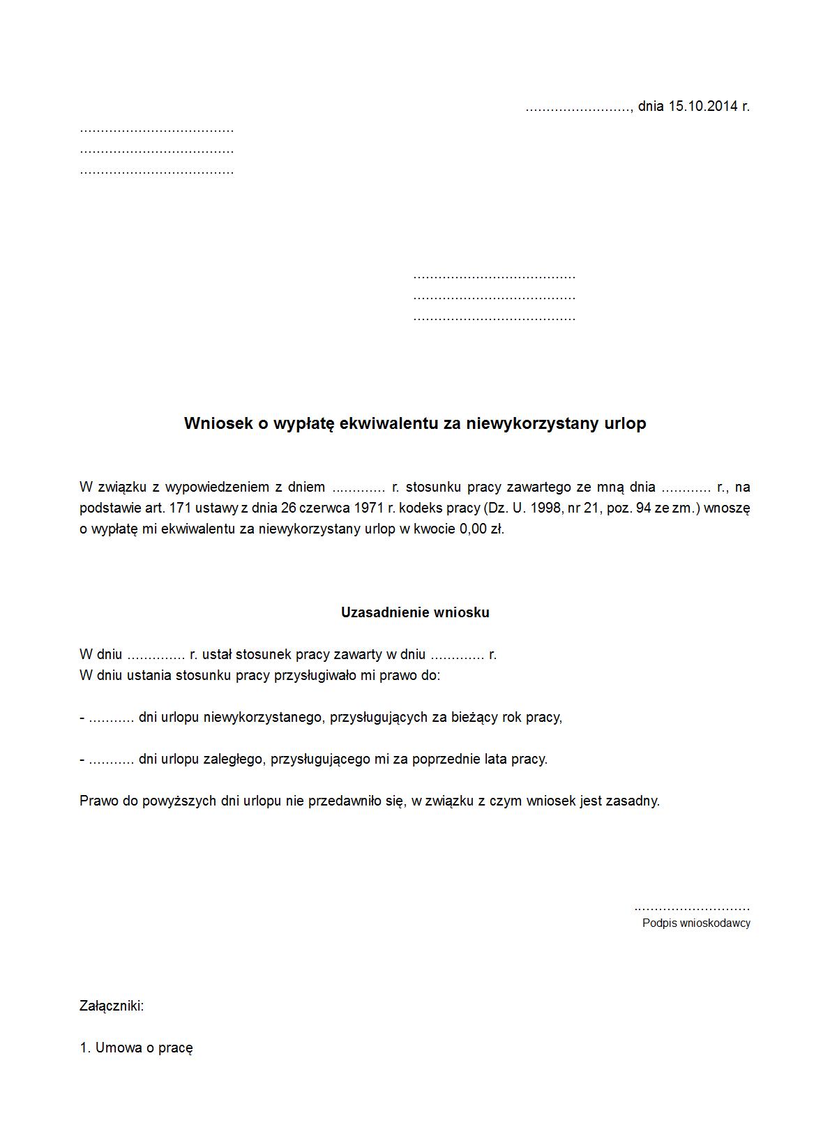 Wwenu Wniosek O Wypłatę Ekwiwalentu Druk Formularz Online
