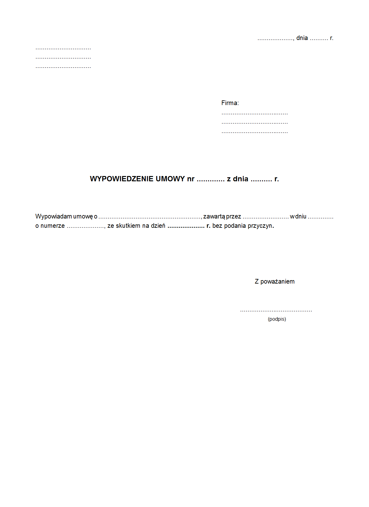 Wu Wypowiedzenie Umowy Wzór Druk Formularz Online