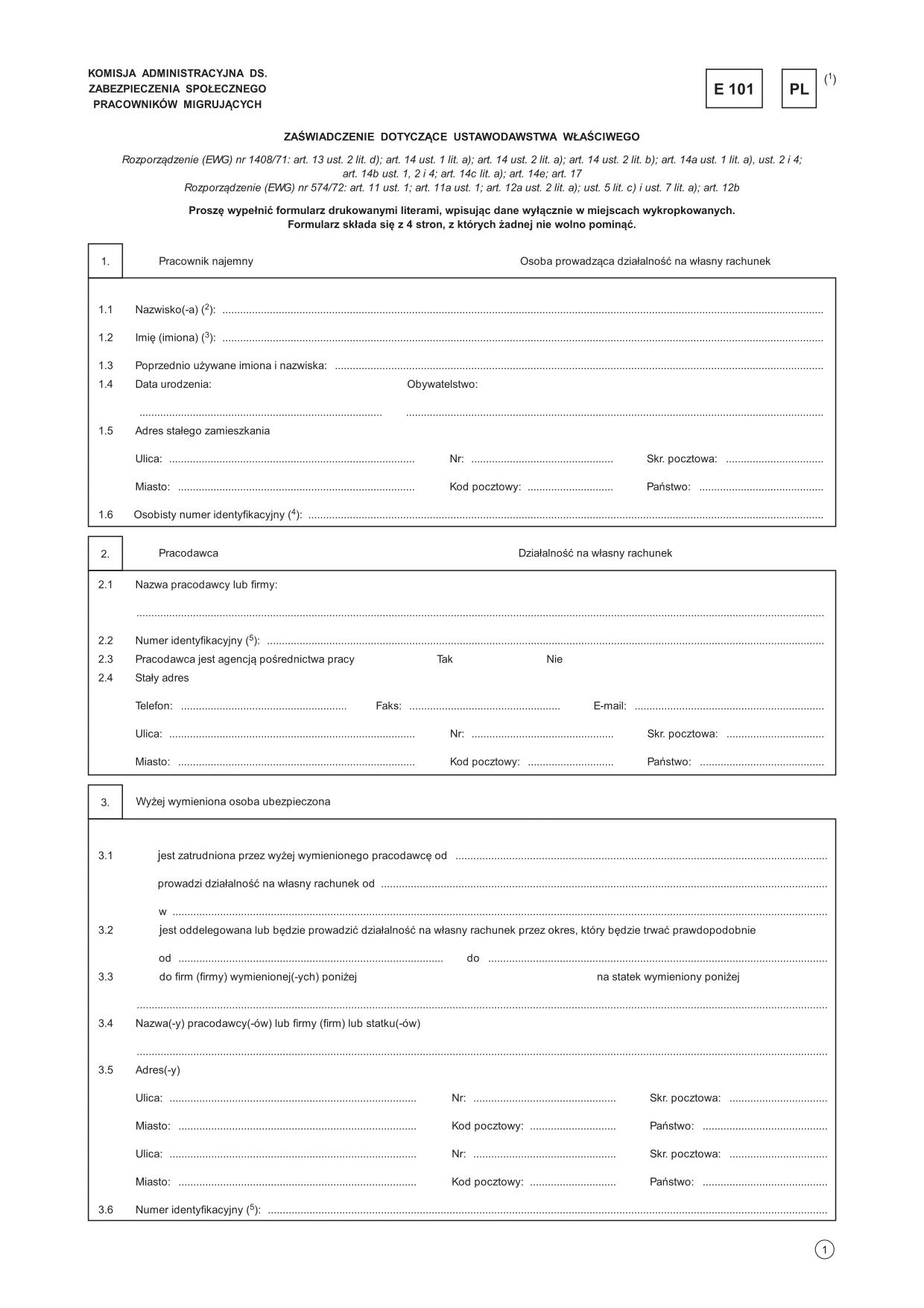E 101 Zaświadczenie dotyczące | druk, formularz online