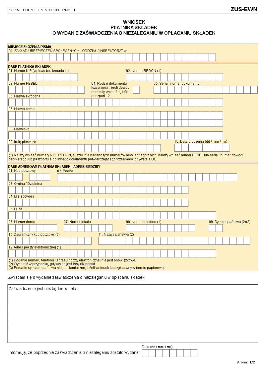 ZUS-EWN Wniosek płatnika składek o wydanie zaświadczenia o niezaleganiu w opłacaniu składek