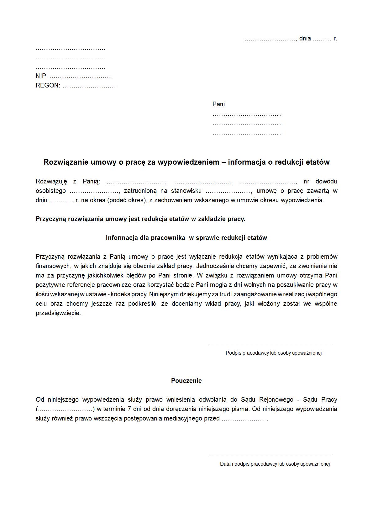 Rupwr Rozwiązanie Umowy O Pracę Za Druk Formularz Online