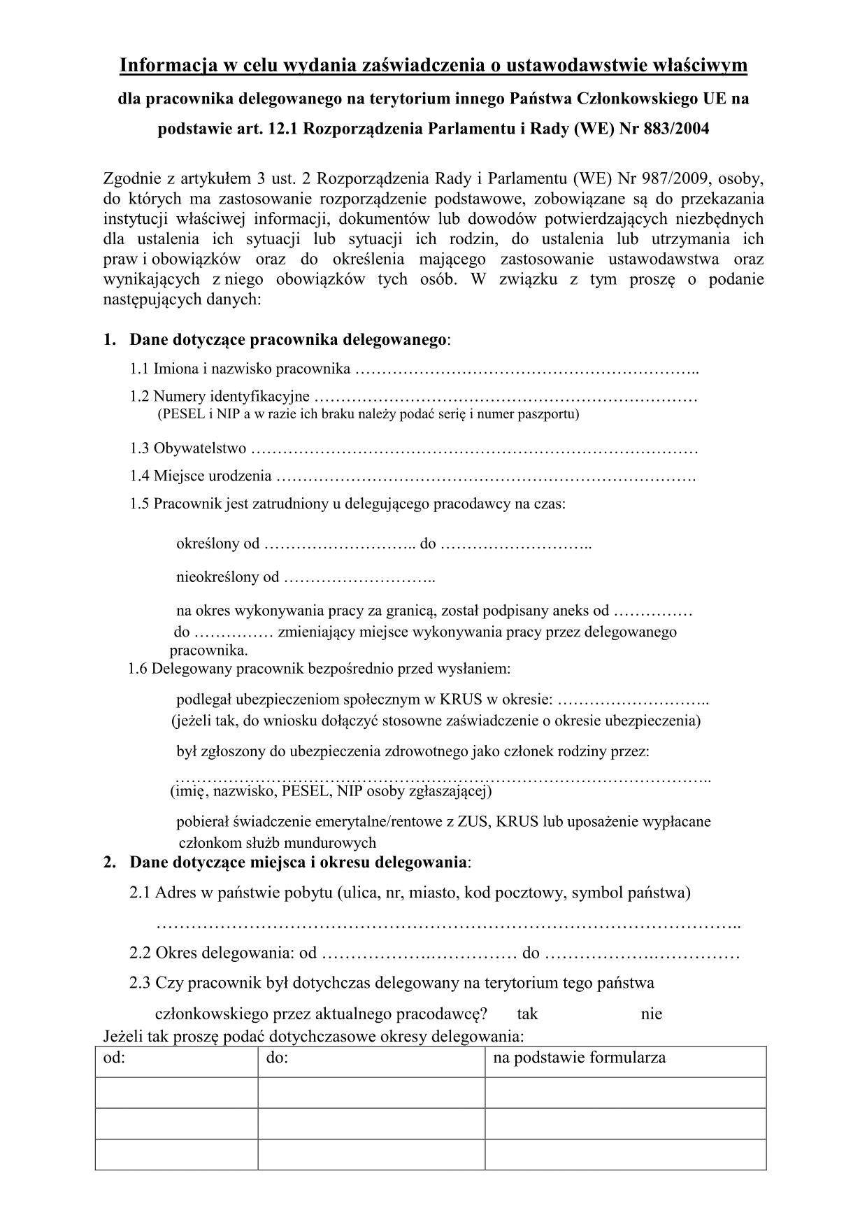 ZUS UWPD Wniosek o zaświadczenie A1 - pracownik delegowany