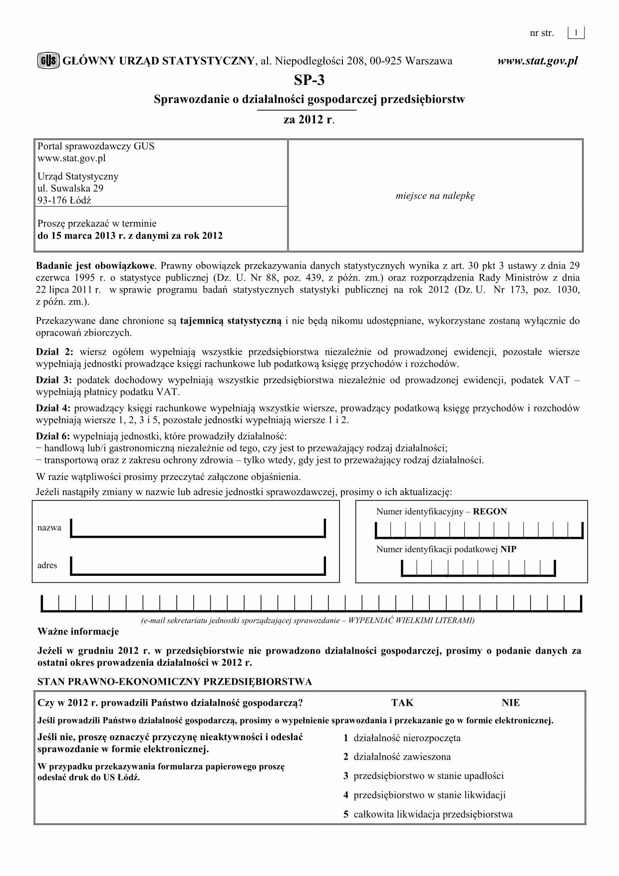 GUS SP-3 (2012) (archiwalny) Sprawozdanie o działalności gospodarczej przedsiębiorstw za 2012 r.