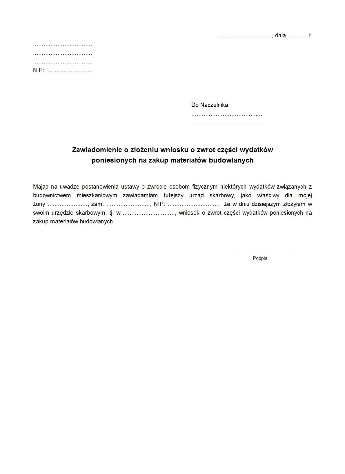 ZoZWVZM1 Zawiadomienie o złożeniu wniosku o zwrot części wydatków poniesionych na zakup materiałów budowlanych