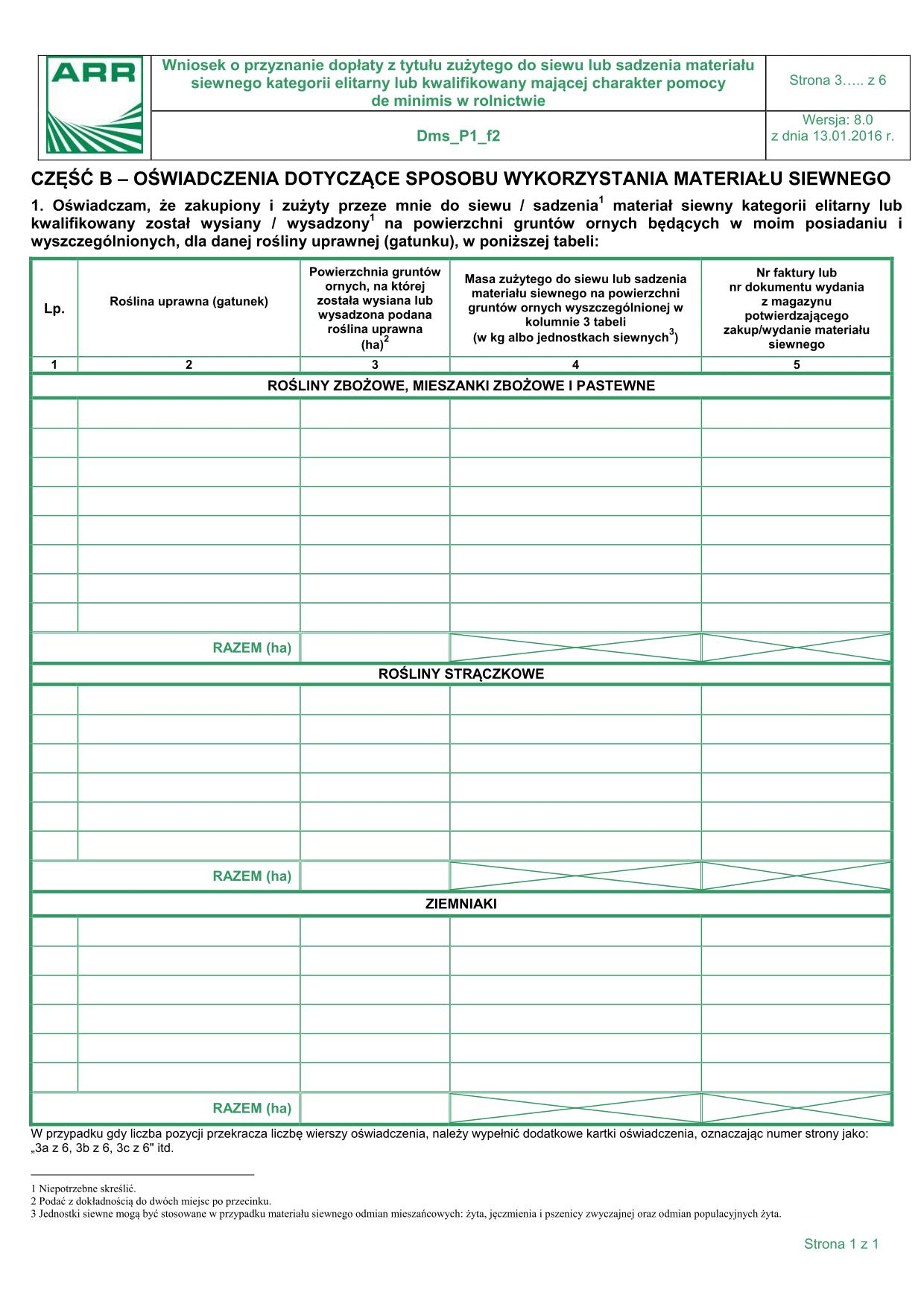 Dms_P1_f2 - str 3 (archiwalny) Oświadczenie dotyczące sposobu wykorzystania materiału siewnego