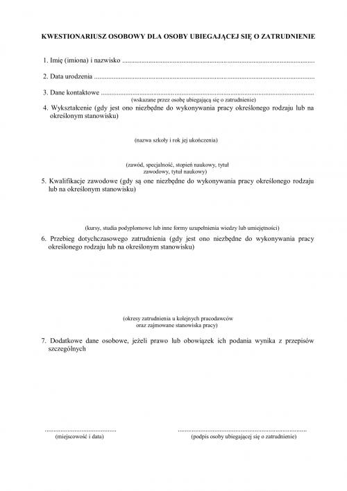 1ca58e81a90d64 KOUoZ Kwestionariusz osobowy dla osoby ubiegającej się o zatrudnienie