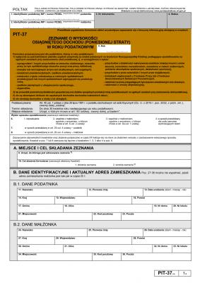 PIT-37 (24) (archiwalny) (2017) Zeznanie o wysokości osiągniętego dochodu (lub poniesionej straty)