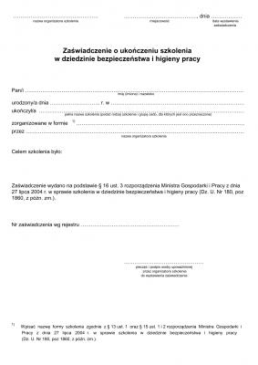 ZoUS (BHP) (archiwalny) Zaświadczenie o ukończeniu szkolenia w dziedzinie bezpieczeństwa i higieny pracy