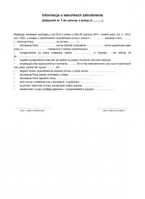 IoWZ Informacja o warunkach zatrudnienia - załącznik do umowy o pracę