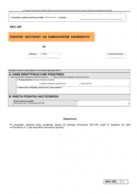 AKC–4/E (5) (archiwalny) Podatek akcyzowy od samochodów osobowych