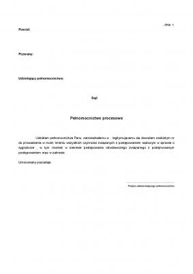 Pp Pełnomocnictwo procesowe
