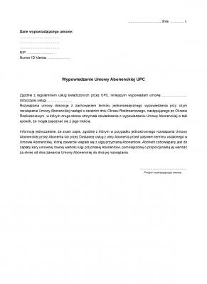 WUAUPC Wypowiedzenie Umowy Abonenckiej UPC