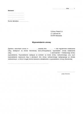 WUCP Wypowiedzenie Umowy Cyfrowy Polsat