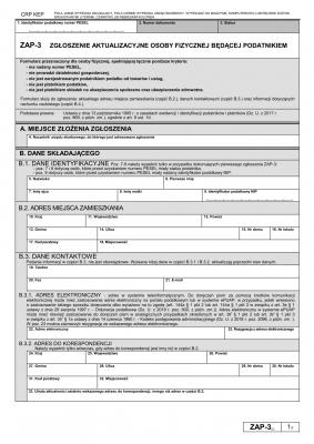 ZAP-3 (5) Zgłoszenie aktualizacyjne osoby fizycznej będącej podatnikiem